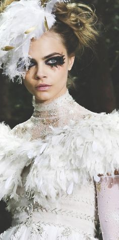 Cara D. | Chanel Haute Couture Spring-Summer 2013. Learn how to create looks like this, and get work as a beauty artist in the fashion industry, at Mastered.com. Find out more at https://www.mastered.com/school/beauty