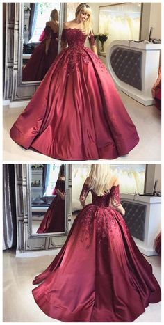 Off Shoulder 1/2 Long Sleeve A line Red Evening Prom Dresses, Popular 2018 Party