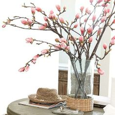 Faux Tulip Magnolia Branch for a pop of color and interest on kitchen table. Easter Flower Arrangements, Flower Vases, Floral Arrangements, Magnolia Branch, Magnolia Flower, Faux Flowers, Dried Flowers, Fabric Flowers, Pink Flowers