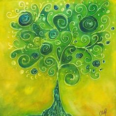 Tree of Life Yellow Swirl Painting by Christy Freeman - Tree of Life Yellow Swirl Fine Art Prints and Posters for Sale