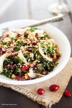 Roasted Garlic Quinoa & Kale Salad with Cranberries . Sounds divine and simple to make... #vegan #glutenfree #quinoa