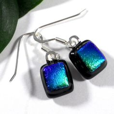 Fused Dichroic Glass Earrings, Ombre Green Blue Purple on Black Base