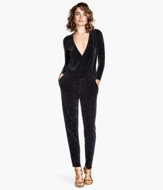 Cute… has pockets and kinda looks like super comfy pajamas  that are acceptable to wear outdoors. <3  Glittery Jumpsuit | H&M US