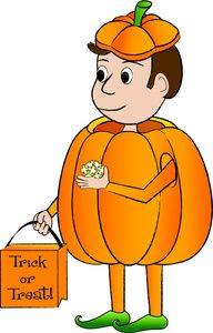 Halloween Costume Clipart Image: A cartoon kid in a pumpkin costume holding a trick or treat bag