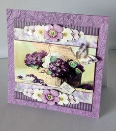 Vintage Stripes and Flowers purple 1205 by Audrey Wilson