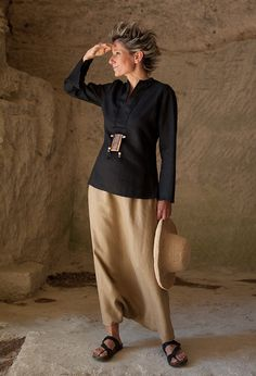 Chemisier cintré en lin noir et sarouel jupe -:- AMALTHEE CREATIONS-:- n° 3380 - Favoloso questo modello!