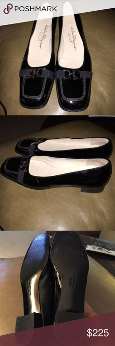 Salvatore Ferragamo 7.5 B flats Patent leather shoes in excellent condition no scratches, no scuffs but no box. They are too narrow for my feet even though they are a B width. Silver Signature Ferragamo buckle on front. Any questions please ask Salvatore Ferragamo Shoes Flats & Loafers