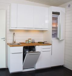 Patti: Layout is inverted but representative of back kitchenette wall. Small Space Living, Tiny Living, Home And Living, Small Spaces, Micro Kitchen, Kitchen White, Small Pool Houses, Small Space Solutions, Studio Living