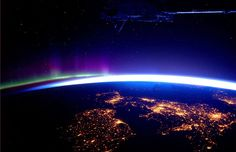 Britain and Ireland with the Aurora Borealis in the background...stunning
