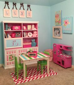 Cute color scheme for a little girls bedroom. Also a great playroom set-up.