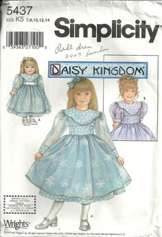 Daisy Kingdom Girl's Dress Simplicity 5437 Sizes by debspatterns55, $6.00  Use the coupon code BUY15GET2 to receive $2 off any purchase of $15 or more.
