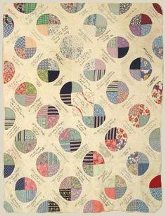 "Roll Call Quilt. June 1944, unknown maker, Newport, TX. 66 1/2"" x 86"". New England Quilt Museum"