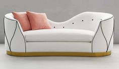 """Perfectly sculpted but totally inviting, our SISTINE SOFA features a rhythmic Arabesque """"dancing"""" welt all around. Covered in polar white, onyx with nectarine pillow. Designed by Tina Nicole. Lounge Sofa, Sofa Chair, Armchair, Cute Furniture, Sofa Furniture, Daybed Sets, Diy Sofa, Home Decor Kitchen, Dining Room Chairs"""