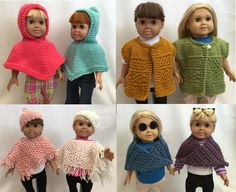 """Cover Ups for 18-Inch Dolls - Delightful wearables to """"cover up"""" with in  the cooler weather ahead.  Chose cute hooded poncho, made from top down, that is super easy. Hood can be worn up , or down on the shoulders.  For evening wear, try the shoulderette wrap in a lovely textured stitch, that is a good companion to any dressy outfit, or even with a turtle neck and jeans.  Super easy to slip on and off, and so stylish right now.  $6.95"""