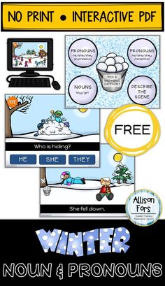 FREE winter themed no print, interactive PDF targeting nouns and pronouns! No printing, cutting, or laminating! Just download, save, and open on your computer or tablet.