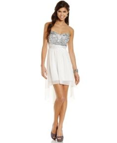 , Strapless Sequin High-Low