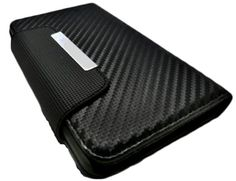 myLife Dark Black {Carbon Fiber Design} Faux Leather (Card, Cash and ID Holder + Magnetic Closing) Slim Wallet for the iPhone 5C Smartphone ...