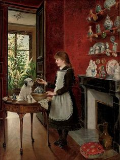 Young Girl with her Dog by Albert Roosenboom