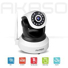 AKASO IP13M-903 Wireless 960P IP camera Wifi Security Home Monitoring CCTV Surveillance Network Webcam Pan/Tilt Video Surveillance 2 way Audio SD Card Slot Night Vision