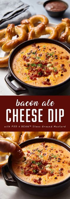 Bacon Ale Cheese Dip... serve with soft pretzels, great for party, holidays, football game, snack