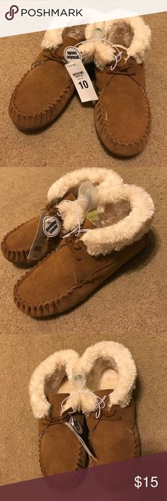 Genuine Suede Moccasins Bought brand new at target. Got double gifted for Christmas. I where these in the house and to stay comfy while running errands. Very warm and comfortable. Go up over the ankle. Chestnut color. Mossimo Supply Co. Shoes Moccasins