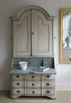 Tone on Tone: A shipment of Gustavian Furniture - A lovely bone colored secretary with iron drawer pulls and a pale blue interior!
