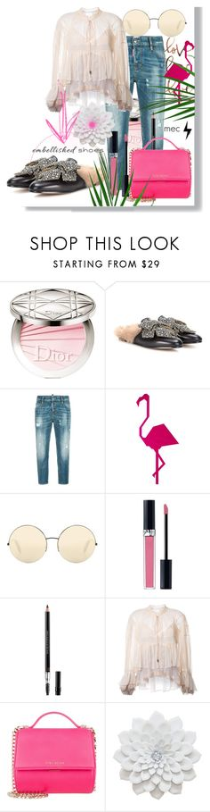 """""""Embellished Shoes"""" by missmeryc ❤ liked on Polyvore featuring Christian Dior, Gucci, Dsquared2, Victoria Beckham, Chloé and Givenchy"""