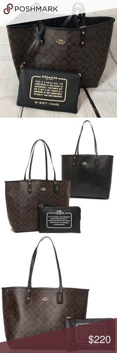 NWT Coach Signature Reversible PCV City Tote This Coach Reversible Tote Features Coach's Signature C Monogram PVC Coated Canvas. Reversible Side (Interior) Is A Solid Black Canvas. Logo is Present on Both Sides. Includes a Leather Hang Tag and Leather Shoulder Straps. This Tote Also Comes with a Removable Zip Wristlet Pouch. Coach Bags Totes