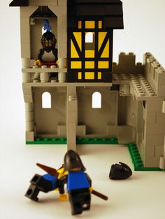 #LEGO knights training in the yard of Black Falcon's Fortress