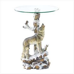Product: Wolf Table with Glass Tabletop;Price: 116.95(2.5% Off);Date: 1/16/2015 12:00:00 AM