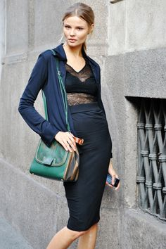 Magdalena Frankowiak, Milan street style. Fendi bag [I love her, I love Italy, & I love street style; how could I not Repin?]
