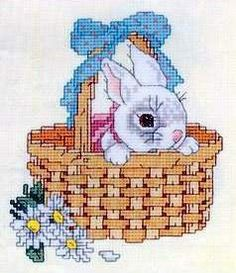 Cross-stitch Peek-A-Boo Bunny, part 1