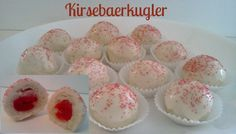 Danish Kirsebaerkugler (Cherry Balls - Easy) ~ A wonderful flaky Danish pastry dough, with cherry inside covered with cream icing.  Easier to make than they are to say! Danish Cuisine, Danish Food, Just Desserts, Delicious Desserts, Yummy Food, Tasty, Cupcakes, Cupcake Cookies, Bar Cookies