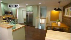 DIY Network Kitchen Crashers - Urban Farmhouse Kitchen- light green cabinets with strap hinges and butcher block countertops.