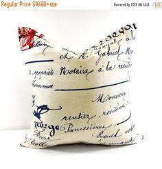 SALE Penmanship Pillow cover. French writings sham cover.