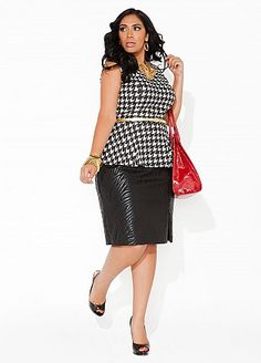 Houndstooth sleeveless shirt and Pencil skirt from Ashley Stewart #plus_size_fashion