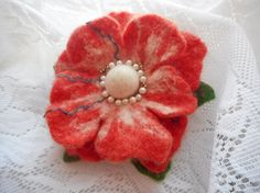 Coral Flower broochFelt brooch flower wool by FashionFeltProducts