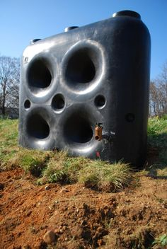 Newly installed above-ground, 650-gallon cistern ready to be filled and provide irrigation for Wangari Gardens in NW DC!