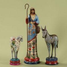 Enesco Jim Shore Heartwood Creek Pencil Nativity Shepherd and Animals 3-Piece Set, 12-3/4-Inch>