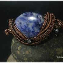 """Copper wire wrapped bracelet with sodalite and hematite  Length from 6 """" to 8"""""""