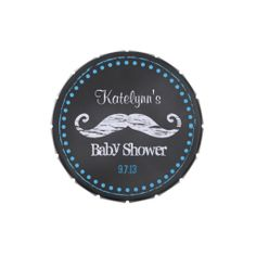 Chalkboard Mustache Baby Shower Candy Tin Favors