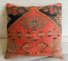 kilim pillow Decorative Pillow Vintage by TURKISHCARPETKILIM