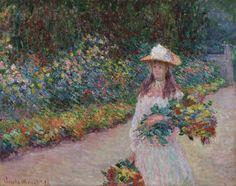 Jeune fille dans le jardin de Giverny Claude Monet, Vincent Van Gogh, William Turner, Pierre Auguste Renoir, Klimt, Canvas Art Prints, Oil On Canvas, Framed Canvas, Framed Prints
