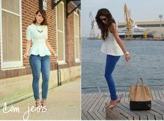 peplum com calça jeans