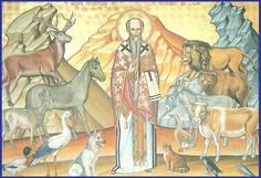 Modestos Patriarch of Jerusalem, a great Protector and Healer of Animals. Orthodox Icons, Jerusalem, Christianity, Catholic, Saints, Painting, Animals, Fictional Characters, Image
