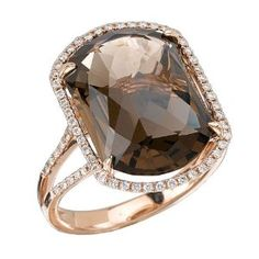 Tivolia Collection Fancy Cushion Smoky Quartz and Diamond 14K Rose Gold Ring - http://www.wonderfulworldofjewelry.com/jewelry/rings/tivolia-collection-fancy-cushion-smoky-quartz-and-diamond-14k-rose-gold-ring-com/ - Your First Choice for Jewelry and Jewellery Accessories