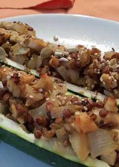 Calabacines rellenos con pollo  agridulce al verdejo