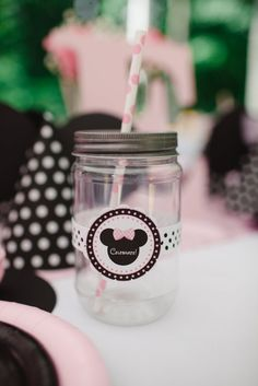 Mason jar drinks at a Pink Minnie Mouse girl Birthday Party!  See more party ideas at CatchMyParty.com!