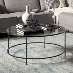 Tanner Round Coffee Table Matte IronBronze finish Bronze finish