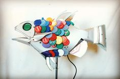 This fish must be fifteen years old now. Thanks to Brighton beach for the bottle tops #fish #upcycle #brighton